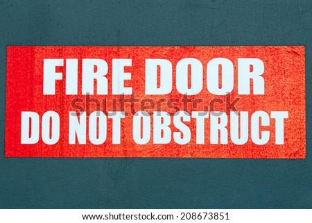 Fire Door Sign - stock photo