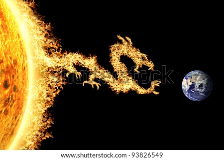Fire dragon from the Sun heading towards Earth, described the solar storm and solar effect. Can be use for background and prints out. - stock photo
