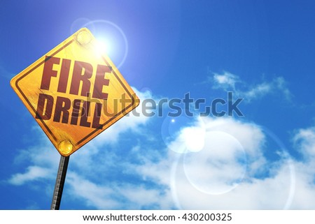 fire drill, 3D rendering, glowing yellow traffic sign  - stock photo