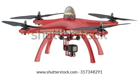 Fire Drone quadrocopter isolated on white background