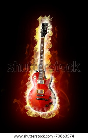 Fire electric guitar - stock photo