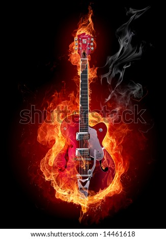 Fire electric guitar.  Look at other fire illustrations in my portfolio: burning letters, flowers, girls... - stock photo