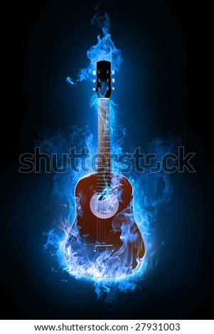 Fire electric guitar on background - stock photo