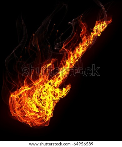Fire electronic guitar - stock photo