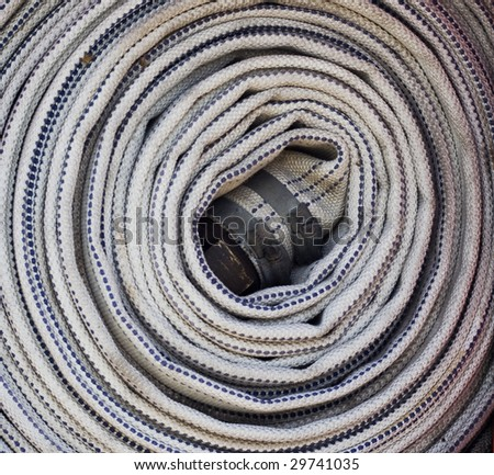 Fire engine hose - stock photo