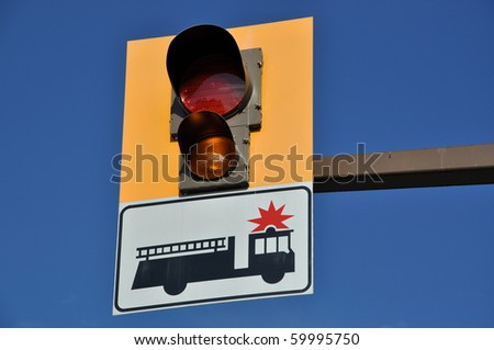Fire engine sign and light - stock photo