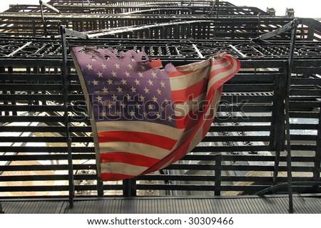 fire escape flag - stock photo