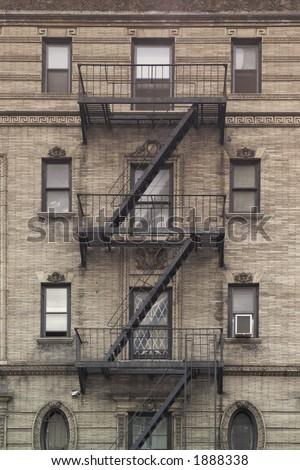 Fire Escape on Brick Building - stock photo