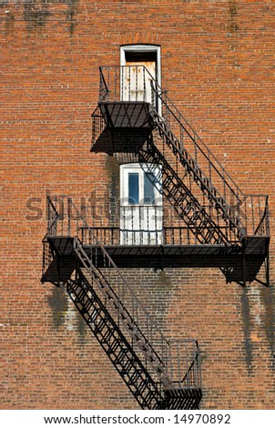 Fire escape on old brick building