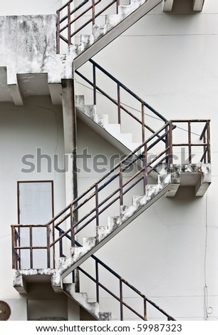 Fire Escape Stair way portrait orientation - stock photo
