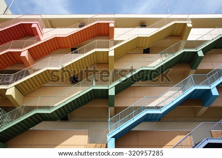 Fire escape stairs - stock photo