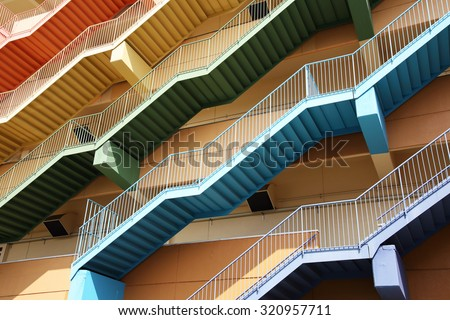 Fire escape stairs, background - stock photo