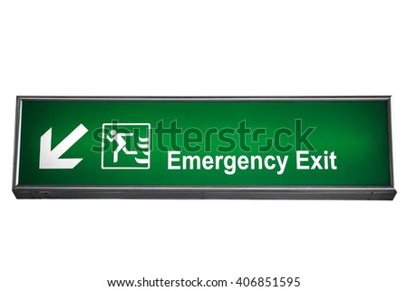 fire exit isolated on white (clipping path) - stock photo
