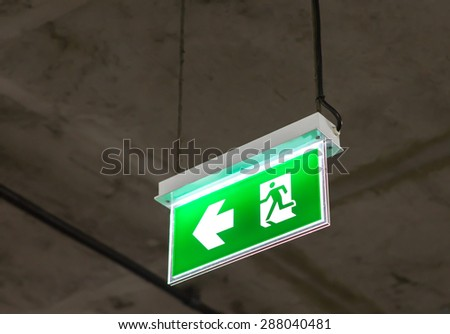 Fire exit light sign - stock photo