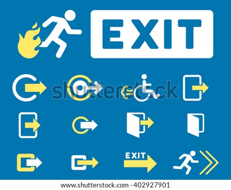 Fire Exit raster icon set. Style is bicolor yellow and white flat symbols isolated on a blue background.