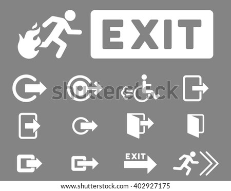 Fire Exit raster icon set. Style is white flat symbols isolated on a gray background.