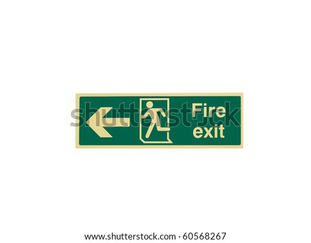 Fire exit sign isolated on white - stock photo