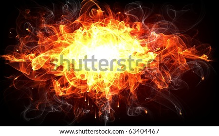 Fire Explosion for flame design - stock photo