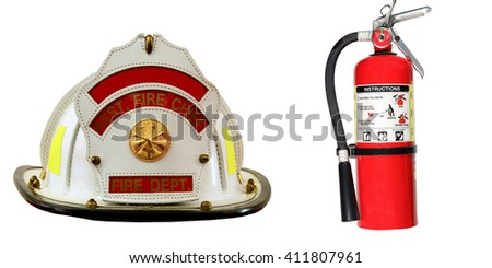 Fire extinguisher and firefighter hat isolated over a white background - stock photo