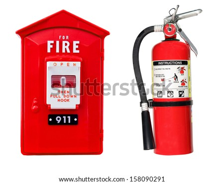 fire extinguisher and pull station alarm box isolated over a white background - stock photo