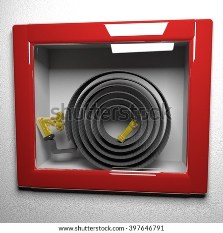 Fire extinguisher behind glass, in close up, 3d rendering - stock photo