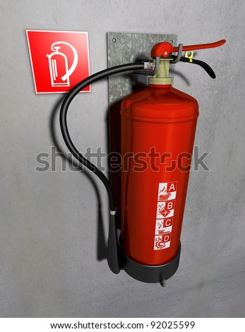 Fire extinguisher Illustration of a fire extinguisher in red fitted at a gray wall - stock photo