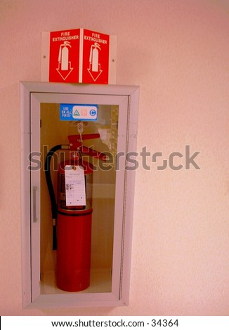 Fire Extinguisher in wall mounted frame, with space for text on right. Sign above is red with white letters, indicating fire extinguisher.