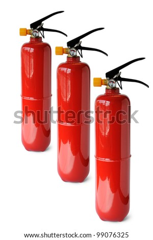 Fire extinguisher isolated on white background, selective focus. - stock photo
