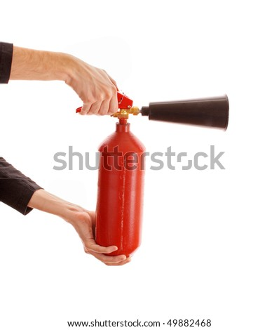Fire extinguisher isolated over white - stock photo