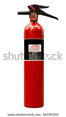 fire extinguisher on white with clipping path at original size - stock photo