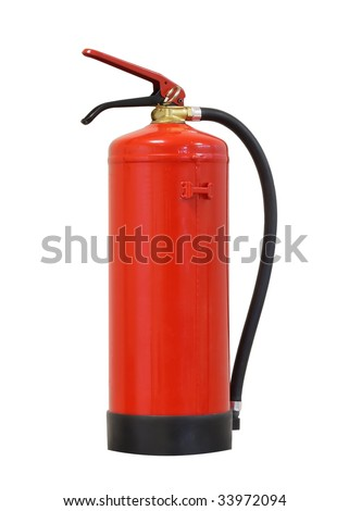 Fire extinguisher over white