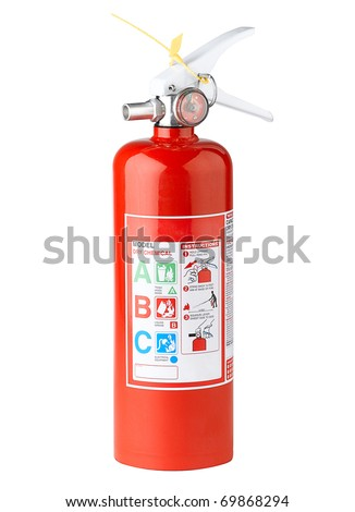 Fire extinguisher where safety come first the image isolated on white - stock photo