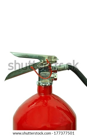 Fire extinguisher where safety, isolated on white - stock photo