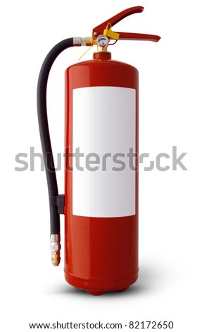 fire extinguisher with clear white label. clipping path included - stock photo