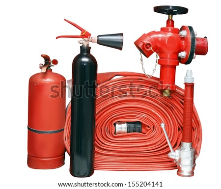 Fire fighter equipment in the red boFire fighter equipment in the red boxx - stock photo
