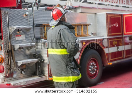 Fire Fighter preparing for duty in San Francisco