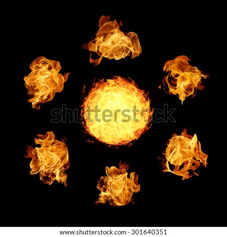 fire flame collection on black background - stock photo