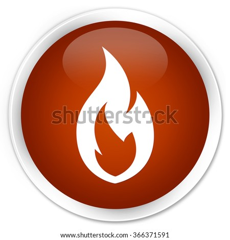 Fire flame icon brown glossy round button - stock photo