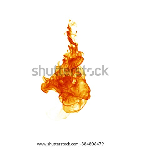 Fire flame isolated on white backgound - stock photo