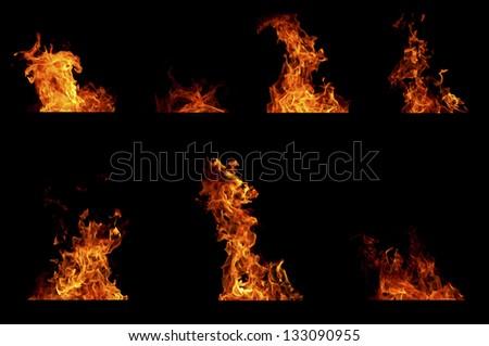 Fire flame set - stock photo