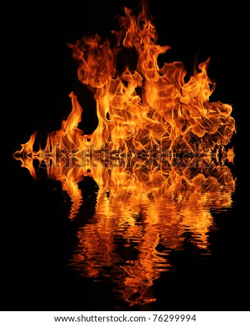 Fire flame with water reflection - stock photo