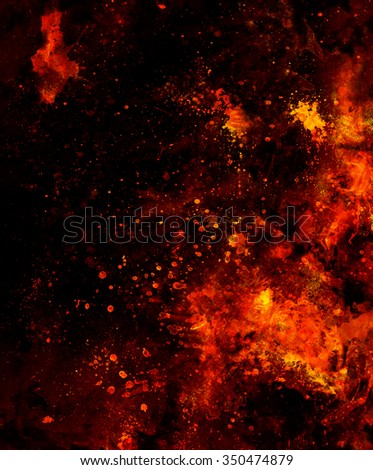 Fire flames background with desert crackle, LAVA structure. Computer collage. Earth Concept  - stock photo