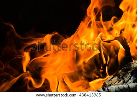 fire flames, burning campfire closeup