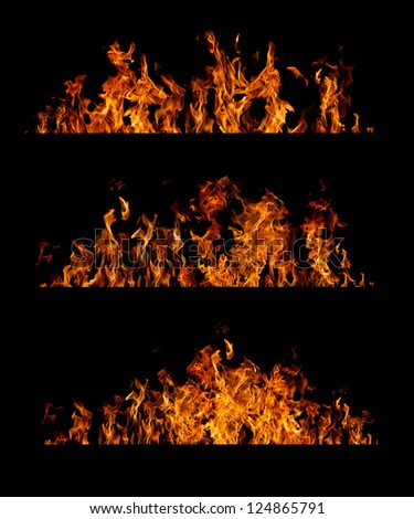 Fire flames collection on black background - stock photo