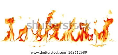 Fire flames isolated on white background - stock photo