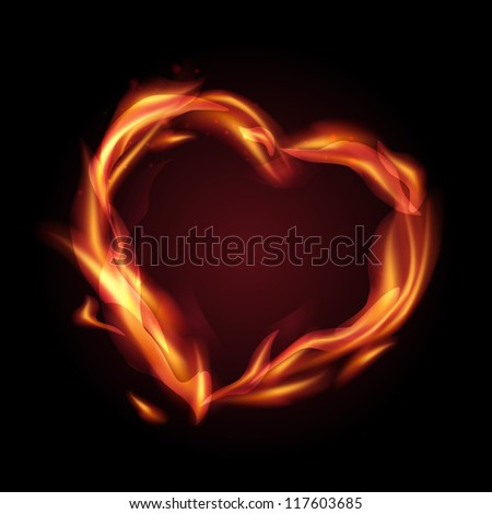 Fire flames making a heart shape. illustration. - stock photo