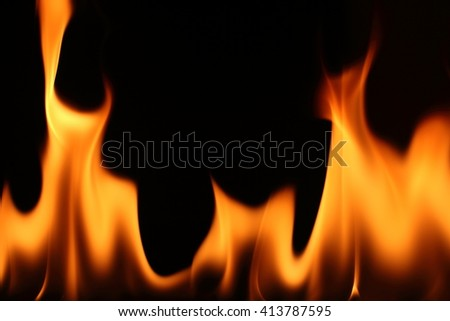 Fire flames on black background