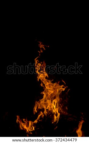 Fire flames with black background