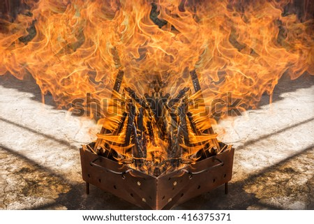 Fire flames.Wood burning for barbecue. - stock photo