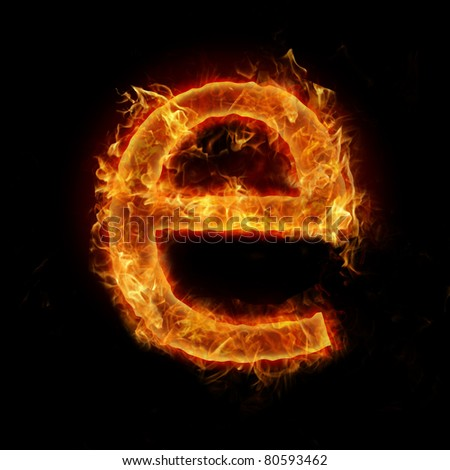 "Fire flaming letter ""e"""